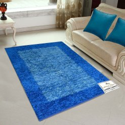 Avioni Handloom Rugs Blue Border  For Living Room In Feather Touch   -3 Feet X 5 Feet