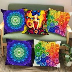 3D Cushion Covers Flower Mandala With Girl – Best Price 16 X 16 Inch (set of 5) by Avioni