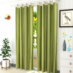Avioni Stylish Long Olive Punched Window And Door Curtains Heavy Material (Set of 2)