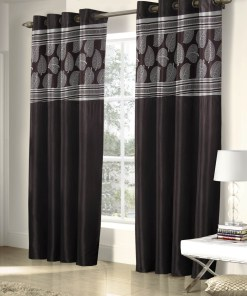 Avioni  Fall Of Leaf Patch Heavy Crush In Coffee Window And Door Curtains (Set of 2)