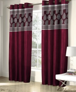 Avioni  Fall Of Leaf Patch Heavy Crush In Red Window And Door Curtains (Set of 2)