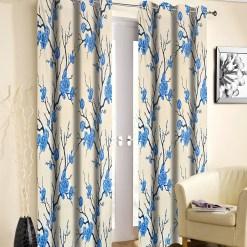 Avioni Beautiful Long Crush Aqua Flowers Bunch Window And Door Curtains Heavy Material (Set of 2)