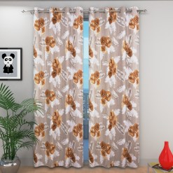 Avioni Beautiful Long Crush Brown Feather & Flower Window And Door Curtains Heavy Material (Set of 2)