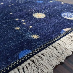 Avioni Carpets for Kids Room Silk- Kids Collection Rocket in Galaxy – 90cm x 150cm (~3×5 Feet)