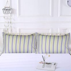 AVIONI 100% Cotton Pillow Covers – Set of 2 (Medium Size) Blue Lines