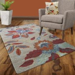 Avioni Wool Carpet Loop Piled Hand Tufted Gray Colour With Flowers – 92×152 cms ( 3×5 Feet)