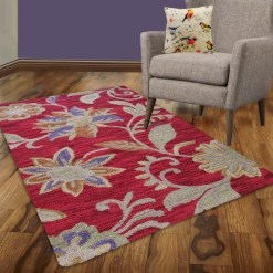 Avioni Wool Carpet Loop Piled Hand Tufted Sunset With Flowers – 92×152 cms ( 3×5 Feet)