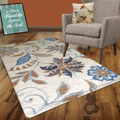 Avioni Wool Carpet Loop Piled Hand Tufted Floral Beige And Blue – 92×152 cms ( 3×5 Feet)