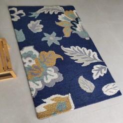 Avioni Wool Carpet Loop Piled Hand Tufted Cream Floral On Blue – 92×152 cms ( 3×5 Feet)
