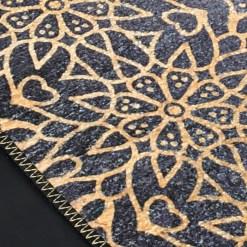 Silk Carpet Modern Design Collection Blue With Gold  – Living Room Rug – 3×5 Feet  (90 x 150 cms)-Avioni