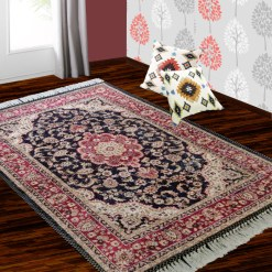 Silk Carpet Persian Design Collection Black andRed  – Living Room Rug – 3×5 Feet  (90 x 150 cms)-Avioni