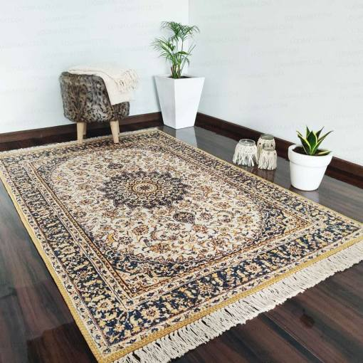 Silk Carpet Persian Design Collection Blue And Beige  – Living Room Rug – 3×5 Feet  (90 x 150 cms)-Avioni