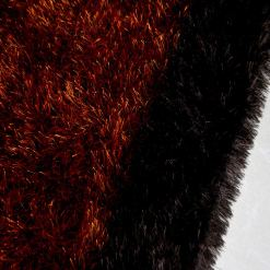 Fur Rug For Living Room|Orange With Coffee Border|By Avioni| 92×152 cm|3×5 Feet