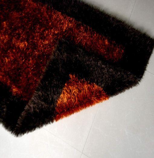 Fur Rug For Living Room Orange With Coffee Border By Avioni  92×152 cm 3×5 Feet