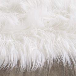 Shaggy Carpet – Flower Shaped Rug – Snow White Premium  Long Fur – 75 cms Avioni