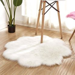 Shaggy Carpet – Flower Shaped Rug – Snow White Premium  Long Fur – 75 cms Avioni