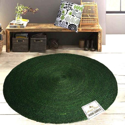 Jute Mat – Natural Rugs – Braided Area Rug – Solid Green- Handmade & Unbleached – 5 feet Round – Avioni Premium Eco Collection