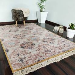 Silk Carpet Ethnic Premium Living Room Rug Beige -Avioni
