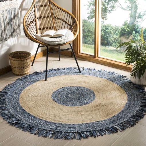 Denim With Jute Designer Carpet – Braided Area Rugs – Round Rug  Handmade- Avioni