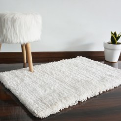 Shaggy Carpet|Washale| Hand Woven Super Luxurious Feel | Export Quality- White Colour