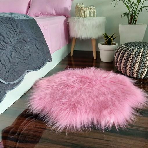 Shaggy Carpet –  Premium Long  Fur – 75 cm Flower Shaped Rug – Avioni Carpets- Pink Colour