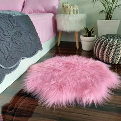 Shaggy Carpet –  Premium Long  Fur – 75 cm Flower Shaped Rug – Avioni Carpets- Pink Colour