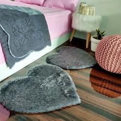 Shaggy Carpet – Heart Shaped Rug –  Premium Medium Fur – 62 cm  – Avioni Carpets- Grey Colour (1+1- set of 2 )