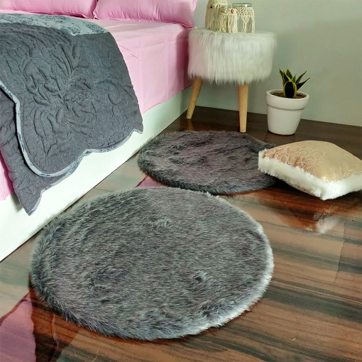 Shaggy Carpet –  Premium Medium Fur – 60 cm Round – Avioni Carpets- Grey Colour (1+1- set of 2 )