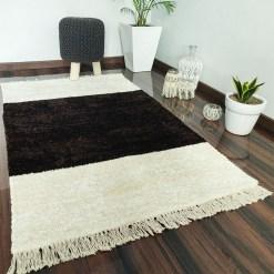 Avioni Carpets for Living Room – Neo Modern Collection Brown-White Carpet/Rug – 92x 152 cm (3×5 Feet)