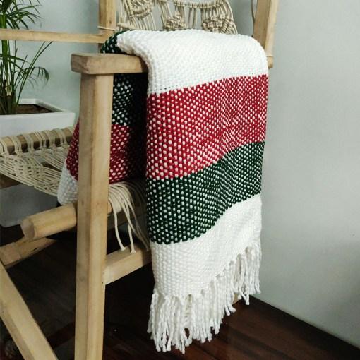 Avioni  Sofa Throws/Blankets Super Soft Acrylic Handloom Weaved Red Green (Aura Collection)-127×152 cm (50 x 60 Inch)