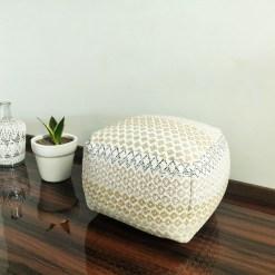 Bigmo Handloom Weaved Cotton Brown Pouf/ Ottoman Large Size- 35x40x40 cm