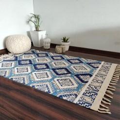 Avioni Boho Look Cotton Printed & Part Tufted Floor Rug / Durrie – Blue Diamonds