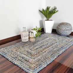 Denim/Jeans With Jute Handmade Braided Rugs| Blue Denim Area Rug|Avioni- Premium Collection