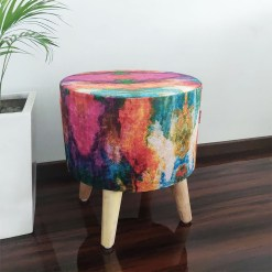 Festival Special _BIGMO Luxury Home Utility Padded Stool/ Ottoman (4 Legs-Added Stability-Natural Finish)