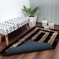 Avioni Shaggy Carpets in Beautiful Coffee Squares Modern Pattern -92×152 cm (3×5 Feet)