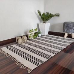 Avioni Cotton Carpets Handweaved Exclusively on Loomkart (Black & White)- 90cm x 150cm (~3×5 Feet)