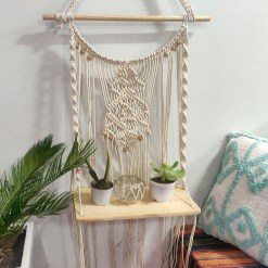 Avioni Hand Knotted Macrame Hanging/ Single Shelf In Pine Wood  Boho Look – In Giftable Cartoon/ Best Festival/Wedding Gift