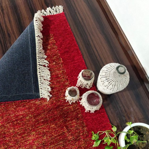 Avioni Carpets for Living Room/Pooja Room – Neo Modern Collection Red And Gold Carpet/Rug – 90cm x 150cm (~3×5 Feet)