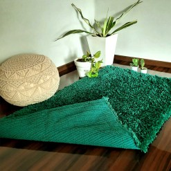 Shaggy Carpet | Washable | Hand Woven Super Luxurious Feel | Export Quality- Turquoise Color