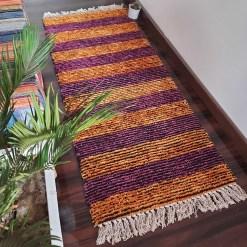 Avioni Bedside/Hallway/Pooja Carpets In Faux Silk Orange Multi-(22X55 Inch)-56X140 cms