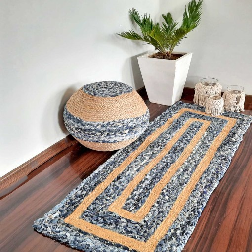Braided Rug in Ecofriendly Recycled Denim And Jute Mix – Colorful Contemporary Design – Perfect for Hallway or Bedside – 55cm x 137cm (~22″ x 55″) –  Avioni