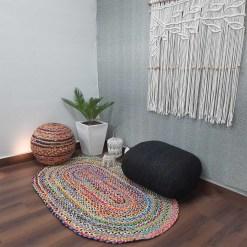 Chindi Carpet – Braided Area Rugs – Oval Chindi Cotton – 92×152 cm (3 Feet X 5 Feet) –  Avioni