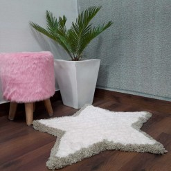 Shaggy Kids Carpet | Washable | Hand Woven Star Shape Super Luxurious Feel | Export Quality- Light Pink And Beige-78X78 Cms (2.5×2.5 Feet)