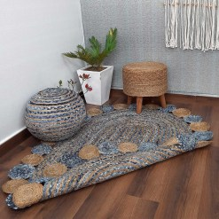 Avioni Home Contemporary Collection -Handmade Jeans With Jute Round Tikki Oval Shaped – Multiple Sizes