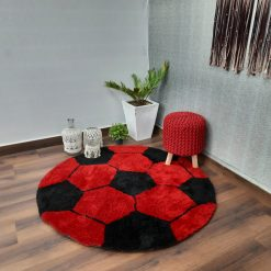 Avioni Modern Multicolor Round Foot Ball patterned Shag Carpet for Living/ Drawing Room  Red And Black -130 cms