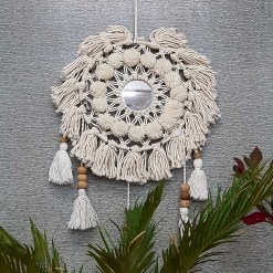 Avioni Home Boho Collection – Hand-Knitted Wall Hanging with Mirror- Flower Look