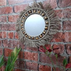 Avioni Home Boho Collection – Mirror in Jute With Beads -35×35 cms