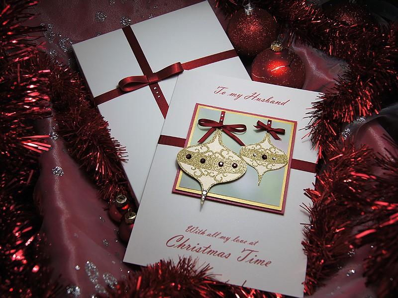 Christmas Baubles Luxury Handmade Christmas Card