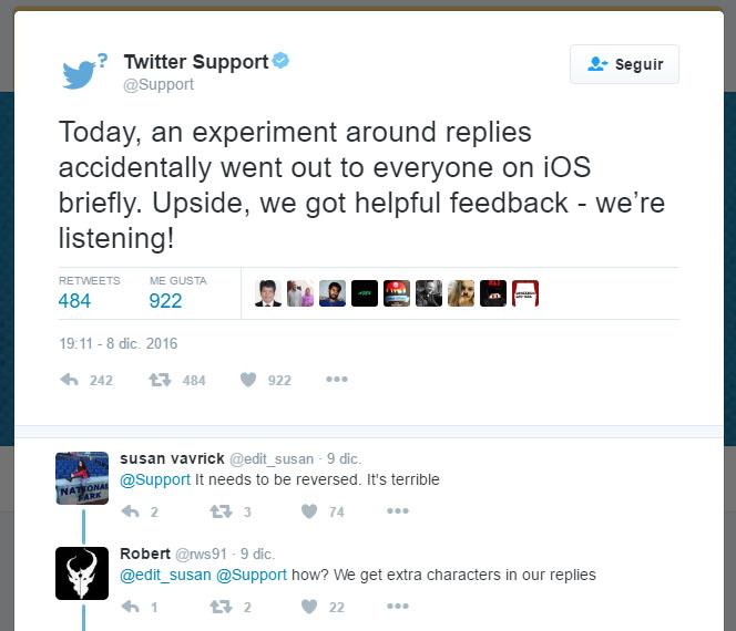 """""""Hoy, un experimento relacionado con las respuestas se publicó accidentalmente en la versión para iOS, pero ya está todo como antes. ¡Os escuchamos!"""""""