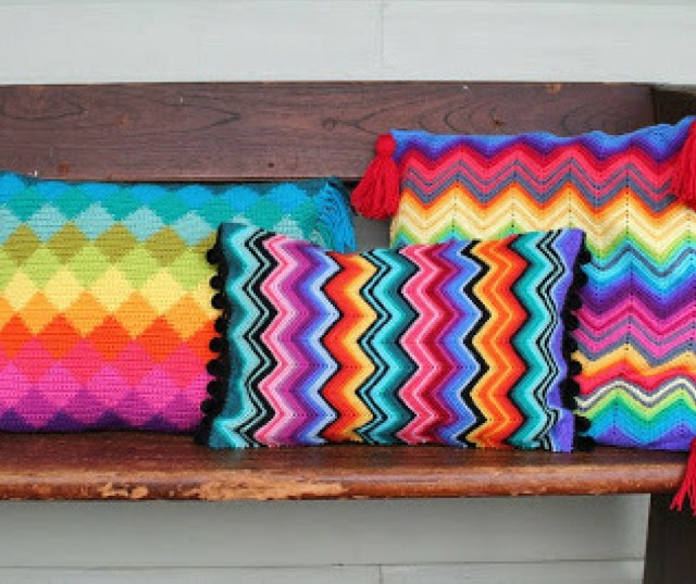 colourful crochet cushion